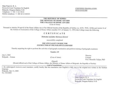 Instruktor poligrafa sertifikat